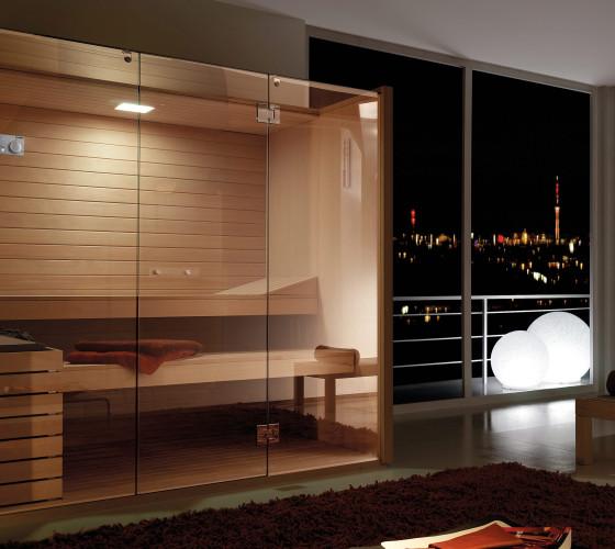 Sky Modello Glass. Esterno, interno e arredi in Hemlock canadese