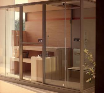 Mid Spazio doccia con miscelatore termostatico, doccia a mano e soffione a soffitto